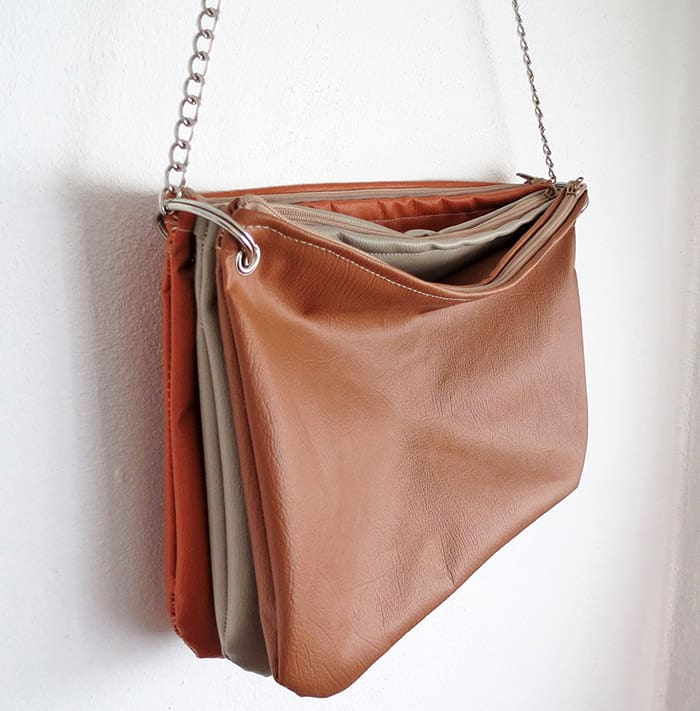 Sew a faux leather purse: trio zippered bag