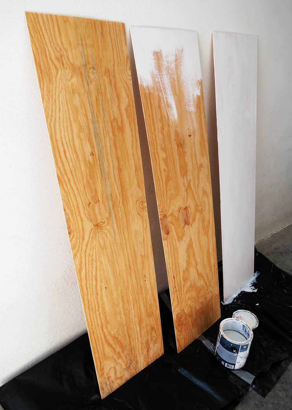 paint the divider plywood panels