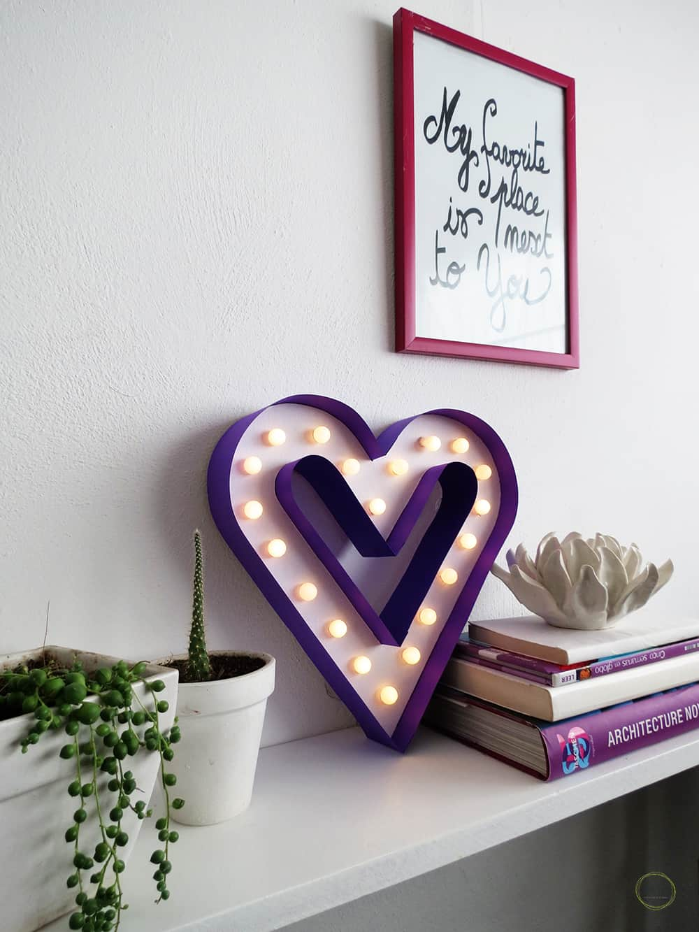 DIY heart marquee sign