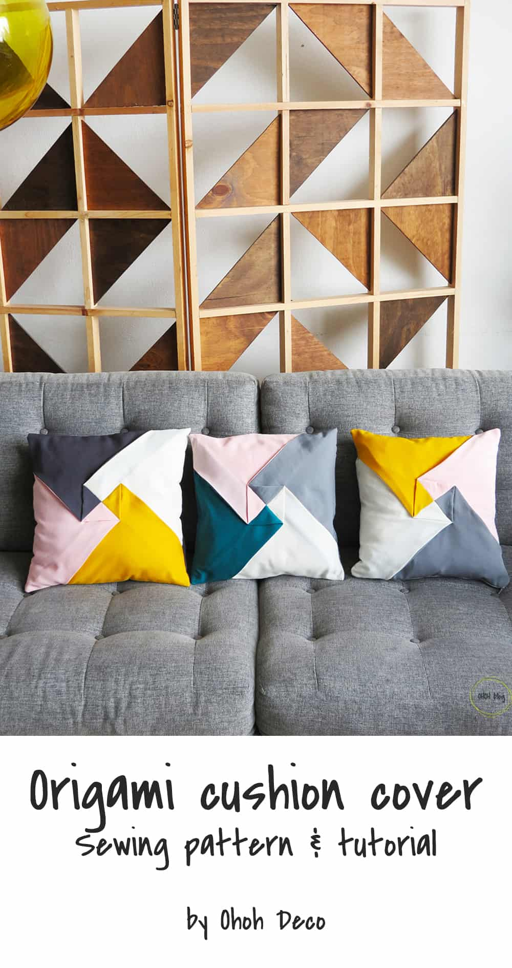 sew color block origami pillow cover