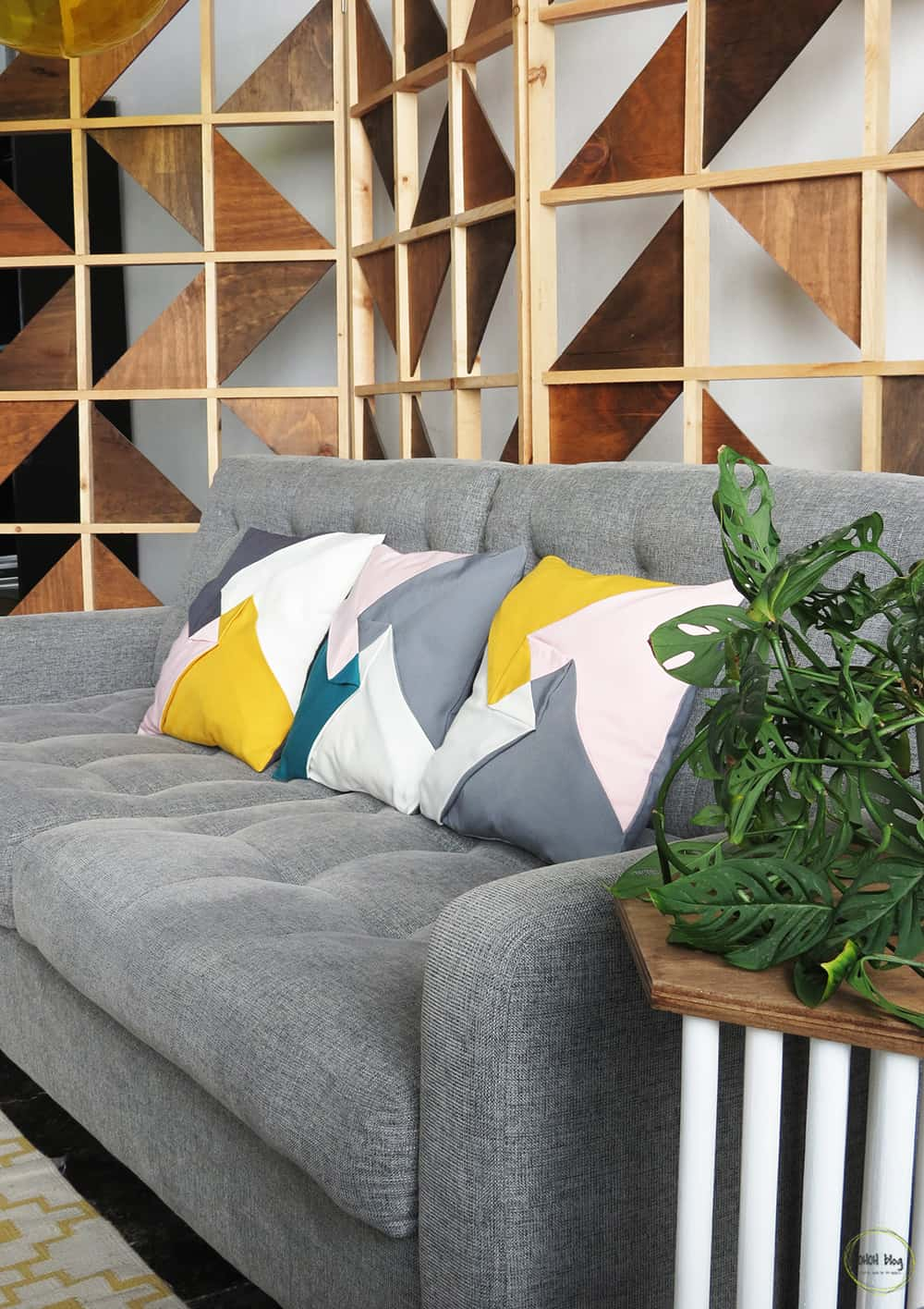 sew color block pillow