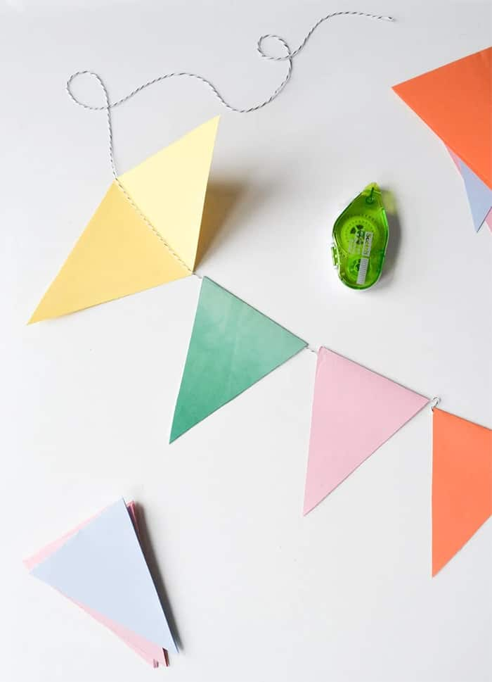 paper triangle banner flags
