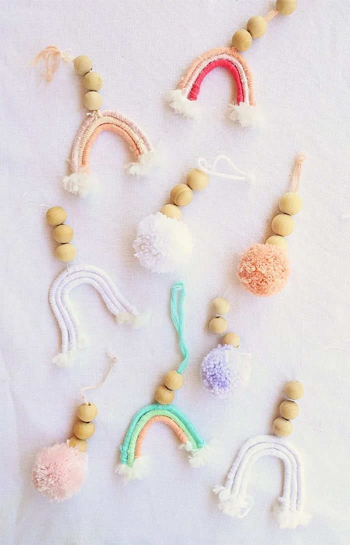 rainbow and pom pom keychain