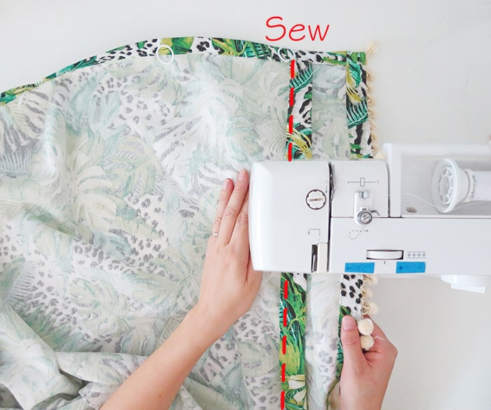 sew the fold to make relaxed roman shades