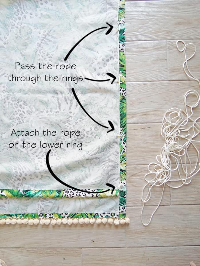 attach the rope to lift relaxed shade