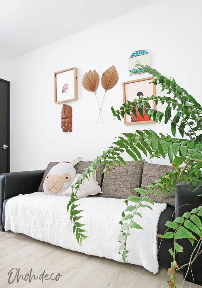 DIY paper palm leaf wall decor