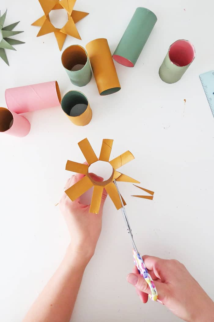 cut tip to make ornament wit toilet roll