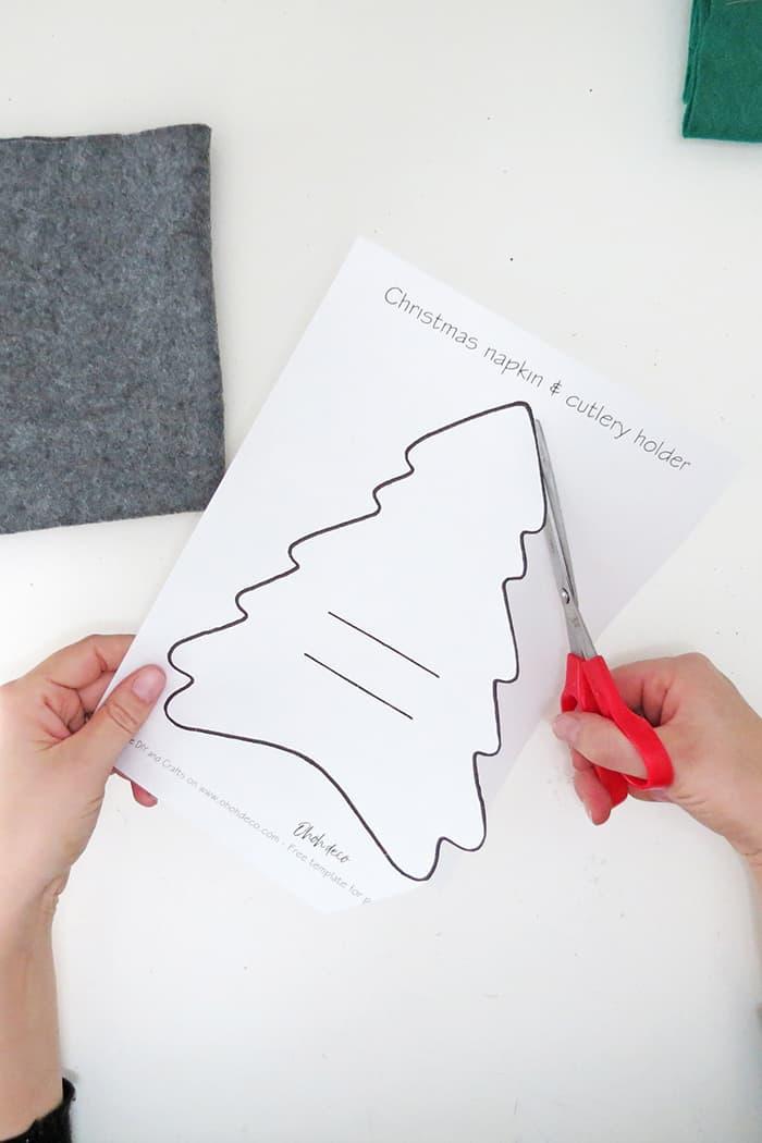 DIY tree napkin holder cut template