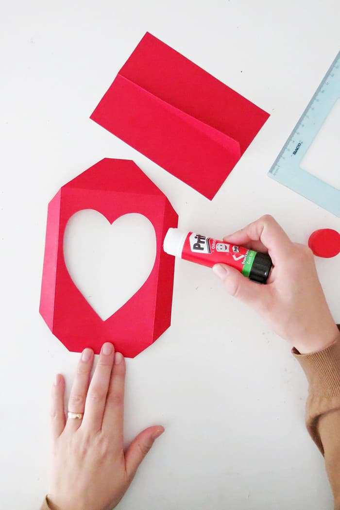 glue the paper photo frame together