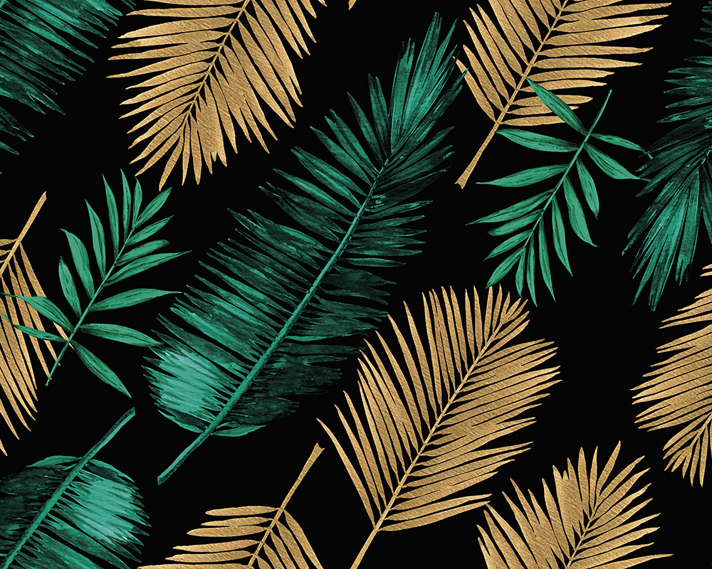 Emerald Green And Gold Palm Wall Mural Wallpaper Mural Ohpopsi