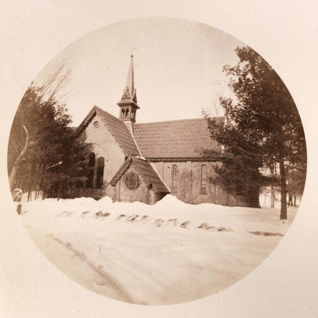 Winter has arrived in Millville! Here is a picture of the Old Chapel in winter for #throwbackthursday . This Kodak No. 2 photograph was taken in 1890 by student Theodore Mitchell Hastings, SPS Form of 1894. #ohrstromlibrary #ohrstromlibrarydigitalarchives #oldchapel #millville #chapelofstpaul #winter #snowfall #spshistory #iamsps