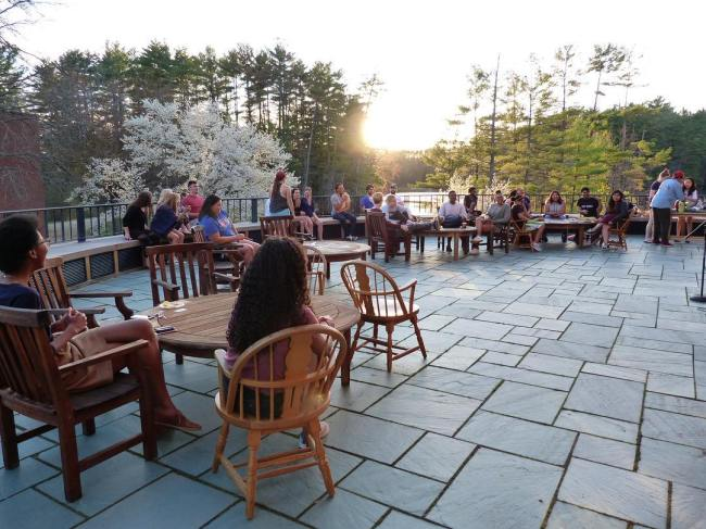 The poetry slam was a success – it was a beautiful evening on the terrace full of poetry, stories and songs – with back up vocals by resident warblers and frogs. #ohrstromlibrary #poetryslam #poetry #poems #stories #songs #warblers #frogs #lowerschoolpond #terrace #sunset #iamsps