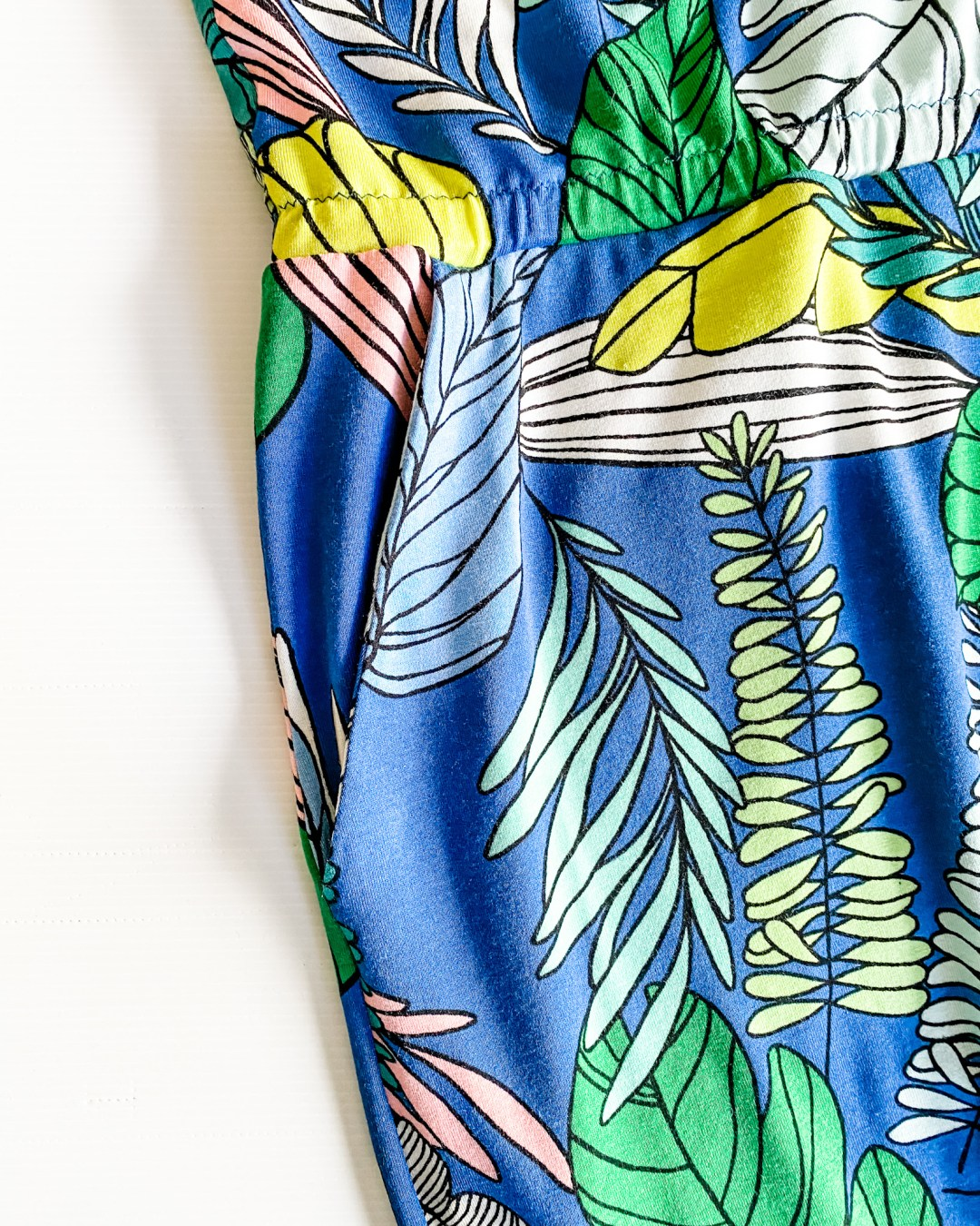 Cobalt viscose jersey fabric - close up of the pocket on the Closet Core Sallie Jumpsuit