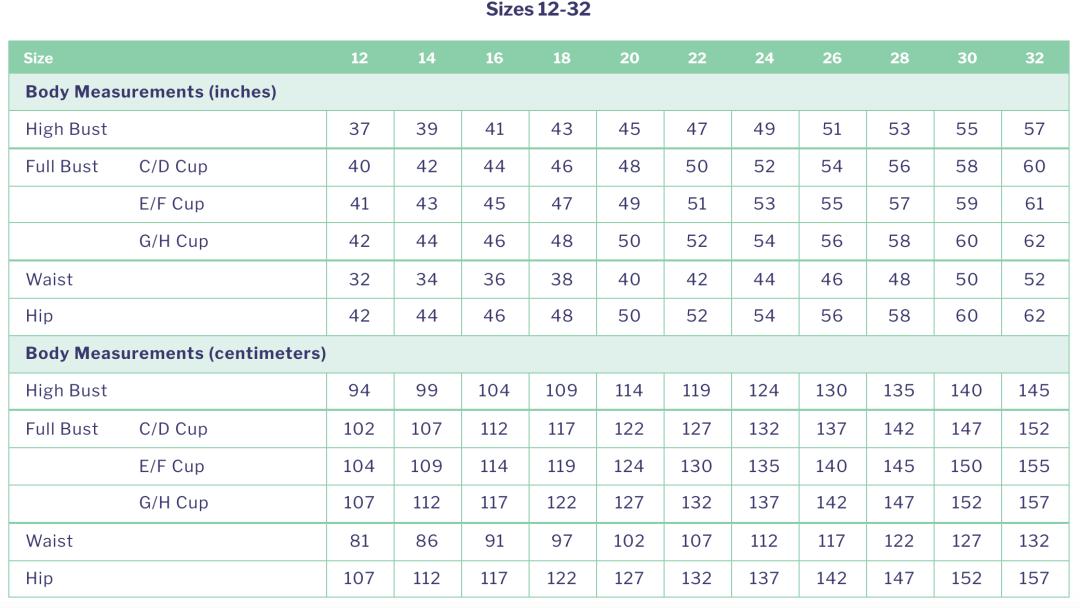 Cashmerette Roseclair Dress - size chart