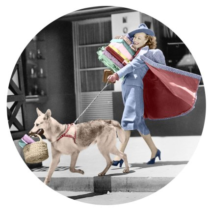 A glamorous lady in a vintage suit and her dog go shopping
