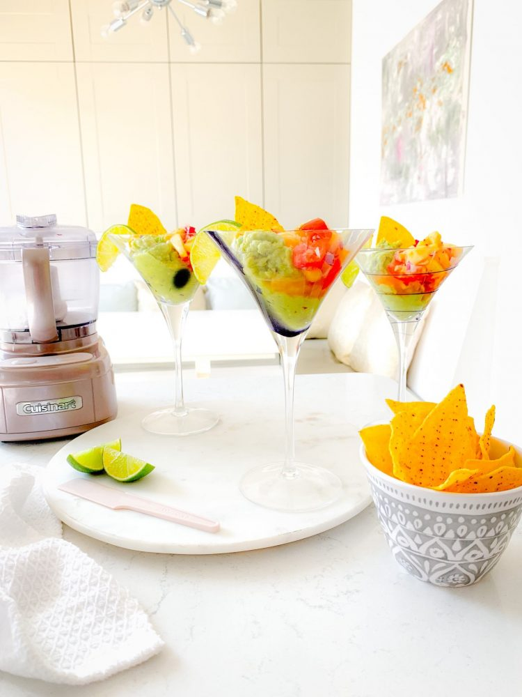 Salsa & Guacamole in Cocktail Glasses