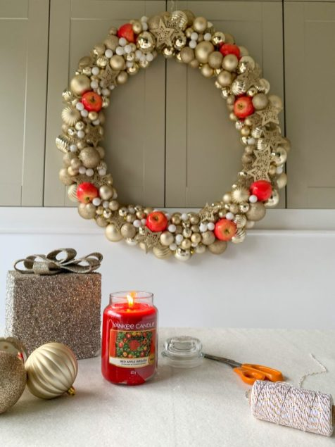 DIY POOL NOODLE CHRISTMAS WREATH WITH YANKEE CANDLE
