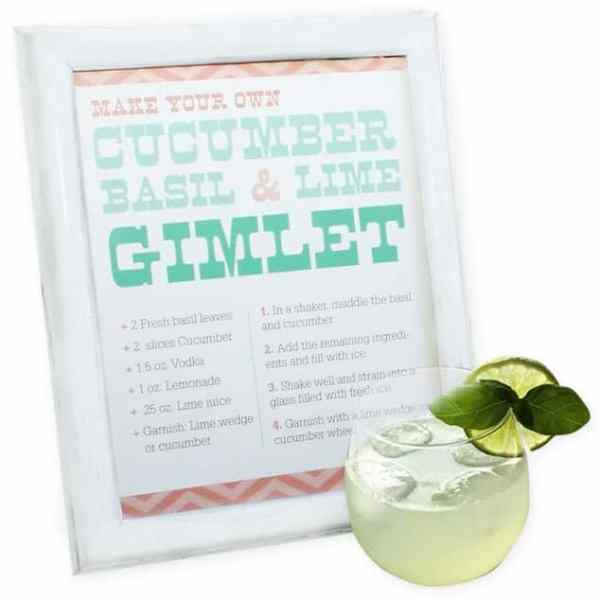 FREEBIES  //  CUCUMBER, BASIL & LIME GIMLET – PRINTABLE DRINK TENT