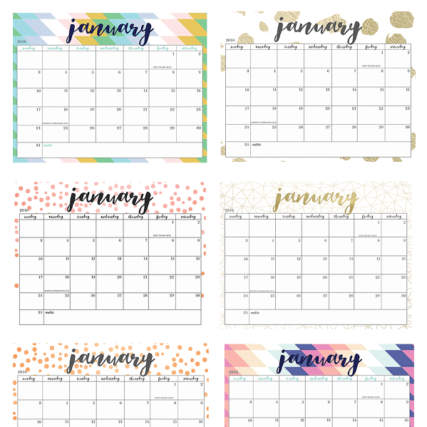 FREEBIE FRIDAY  //  FREE PRINTABLE 2016 CALENDARS