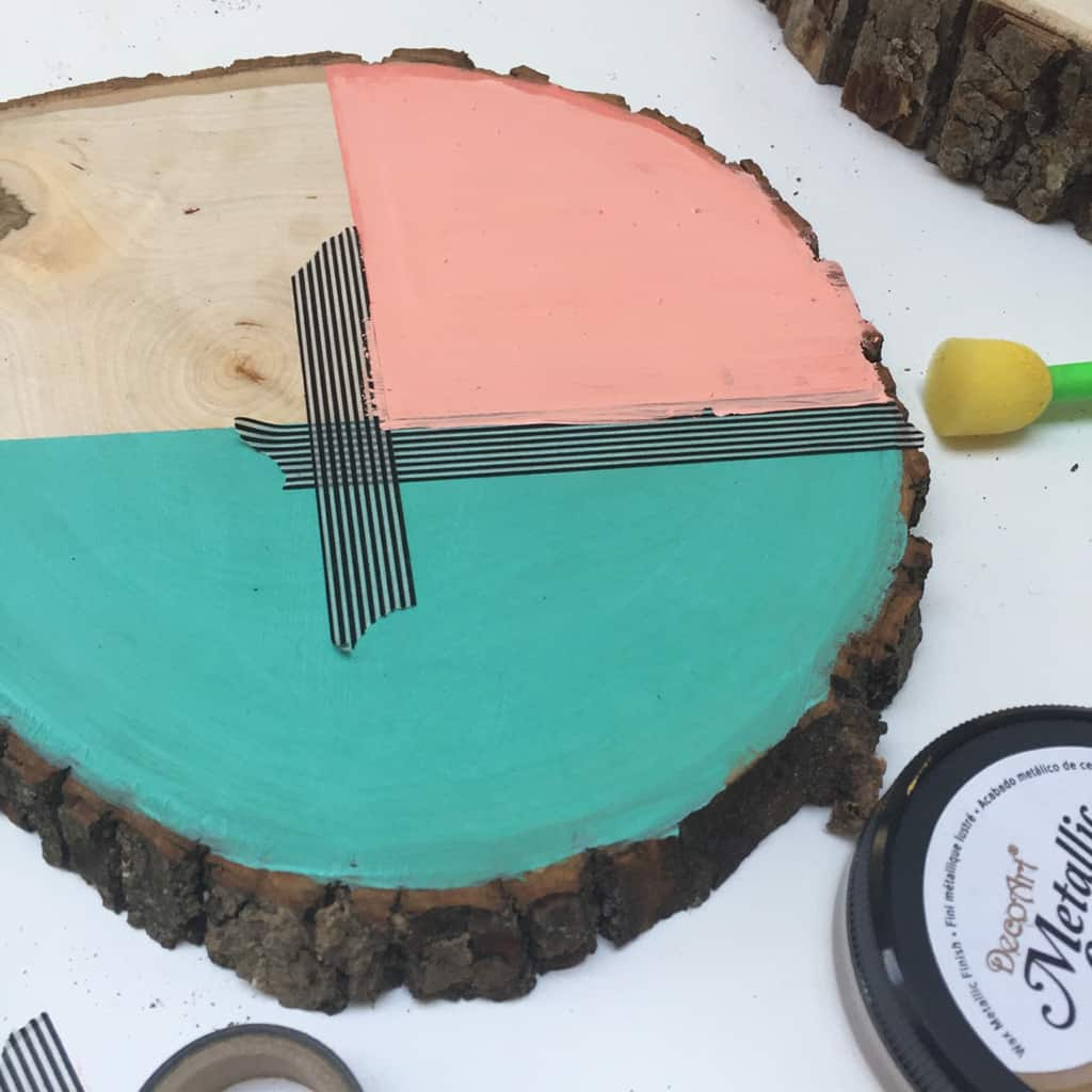 DIY wood slice key holder