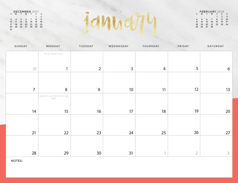 2018 printable calendar with notes