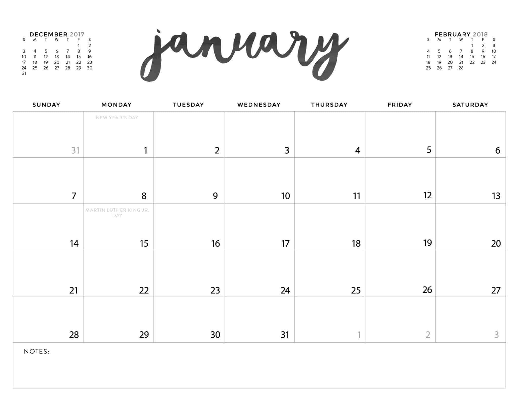 blank calendars for 2018   Physic.minimalistics.co