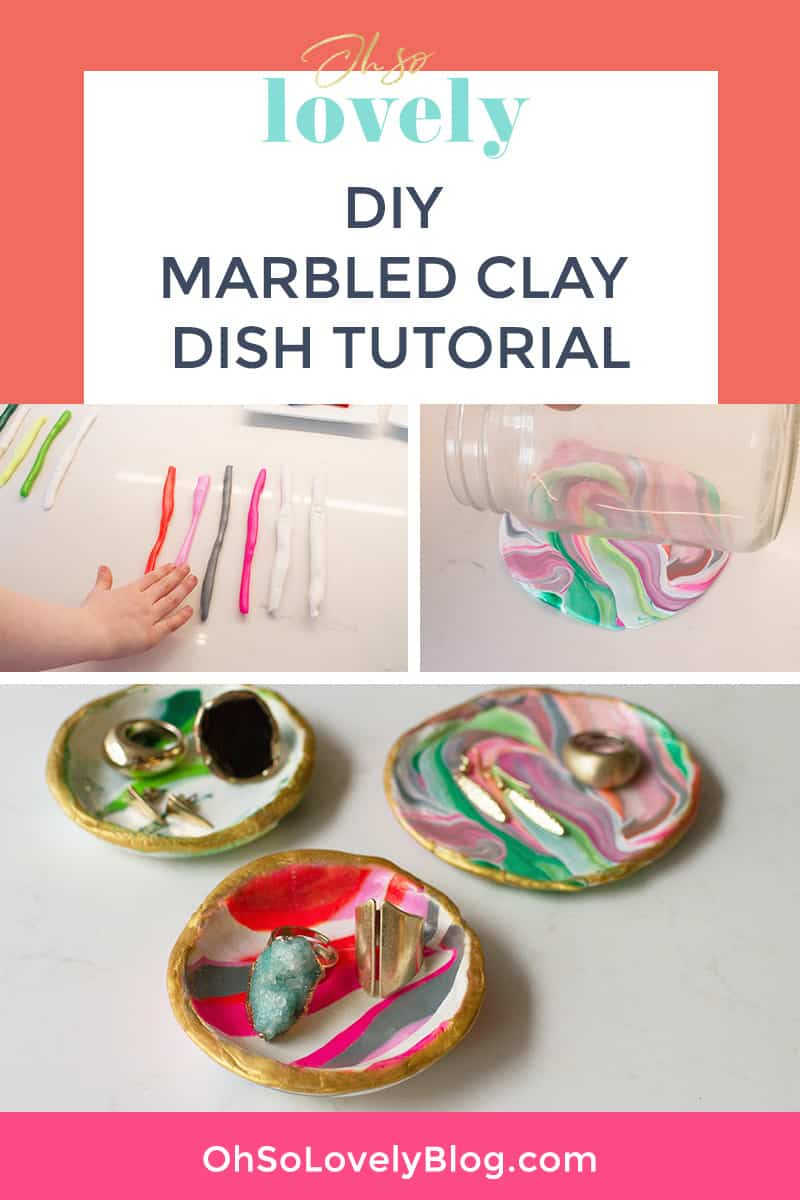 Learn how easy it is to make your own DIY marbled clay dishes with this tutorial from Oh So Lovely Blog!