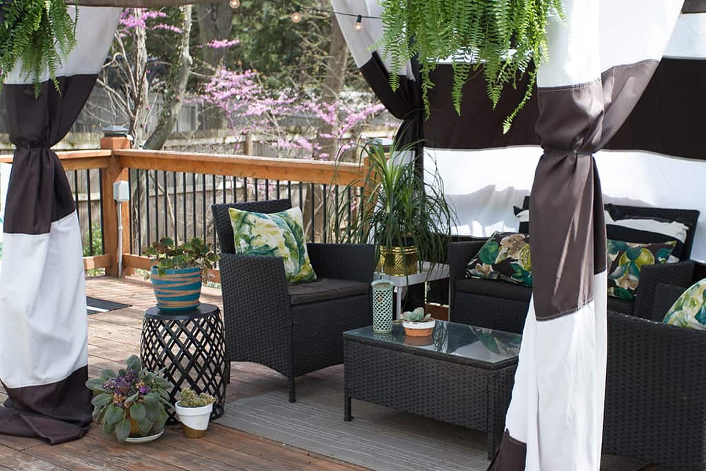 Audrey of Oh So Lovely Blog shares her deck cabana and spring spruce up wishlist from Joss and Main