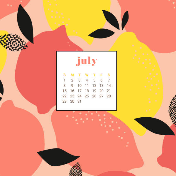 FREEBIES  //  JULY 2018 CALENDAR WALLPAPERS