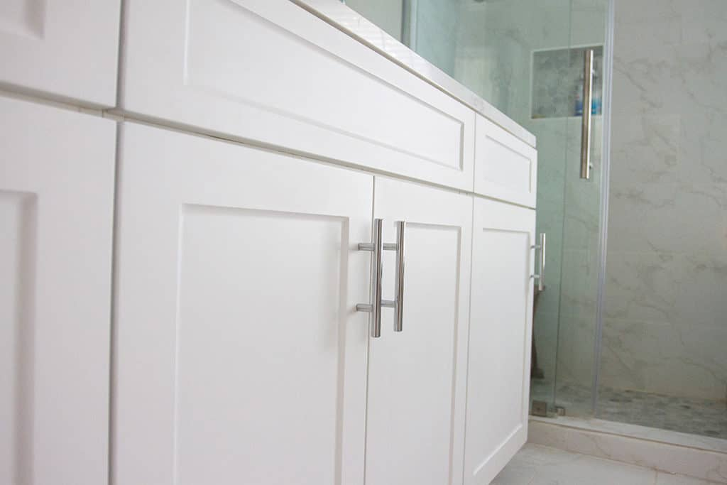 Audrey Kuether of Oh So Lovely Blog shares her complete master bathroom remodel featuring Kohler and Moen products from Kitchens and Baths by Briggs.