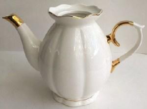 White Porcelain Gold Accent Teapot