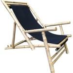 Fabric Bamboo Beach Chair Black fabric