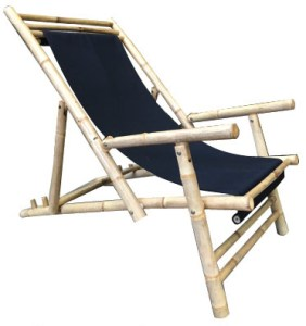 Fabric Bamboo Beach Chair Black fabric