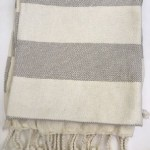 Fabric Gray Striped Throw