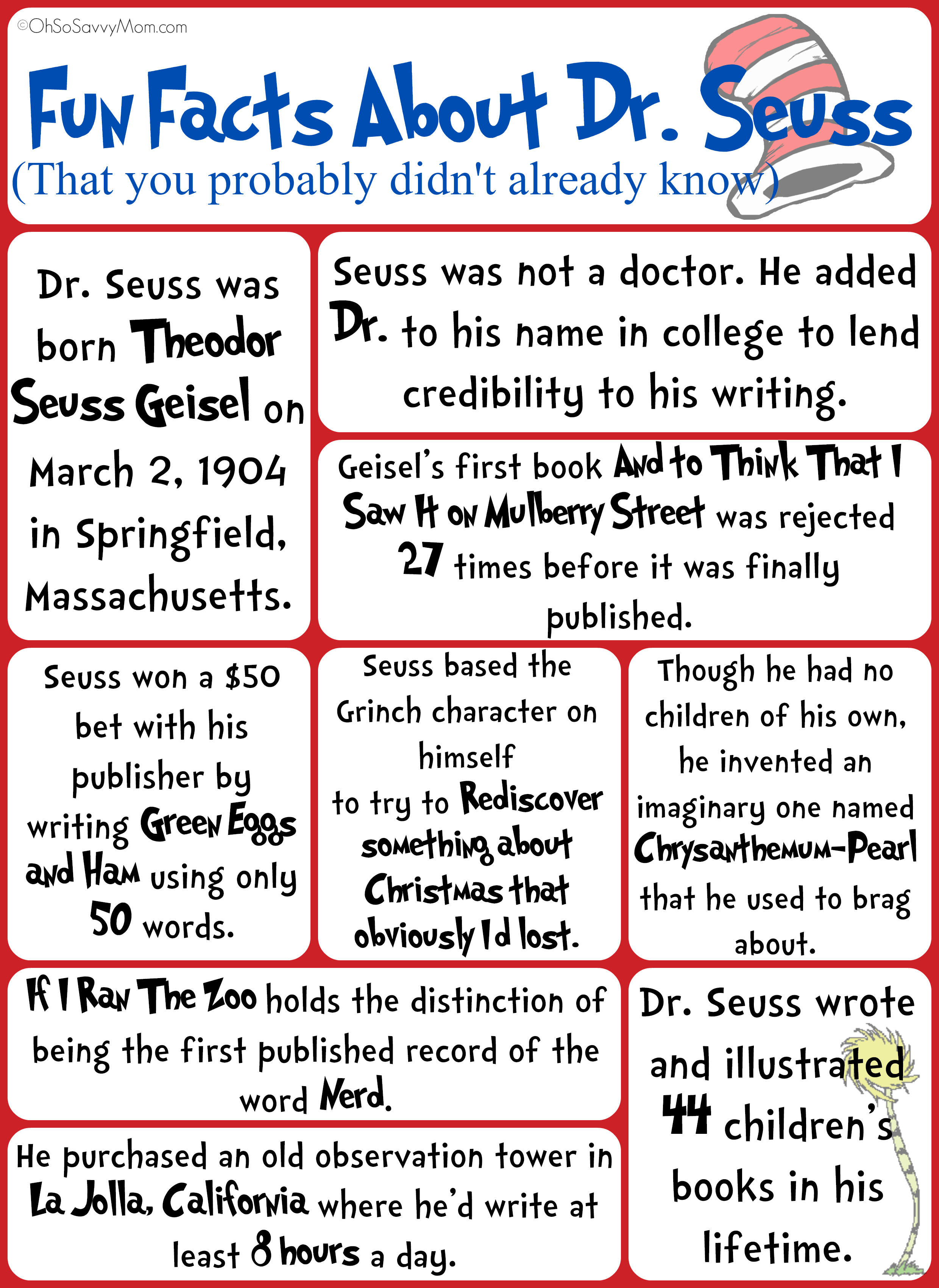 Fun Facts About Dr Seuss You Probably Didn T Know