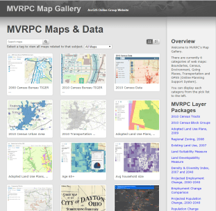 The MVRPC Map Gallery is a collection of 60 interactive web maps, each containing several data layers. Currently, web maps are grouped in 6 categories: Boundaries, Census, Environment, Going Places, Transportation and OPSS (Online Planning Support System). Web maps and data resources featured in the Map Gallery are also fully accessible through MVRPC's ArcGIS Online Resource Group. In addition, users can download the data in KML format to create personalized maps using Google Earth and other similar applications. Visit MVRPC's Map Gallery at www.mvrpc.org/mapgallery