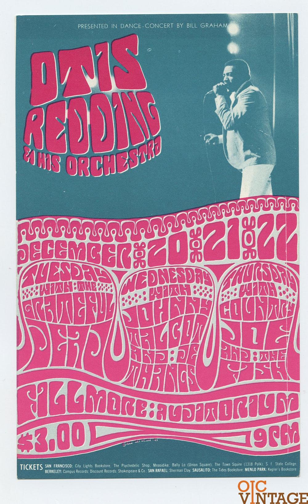 Bill Graham 043 Handbill Otis Redding Grateful Dead 1966 Dec 20