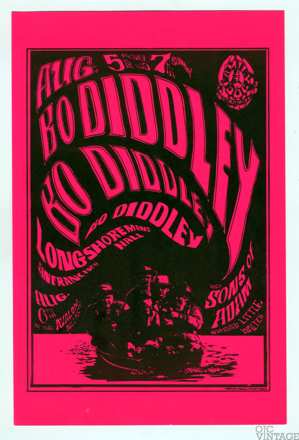 Family Dog 020 Handbill Five Men in a Rowboat 1966 Aug 5 Bo Diddley The Son of Adam
