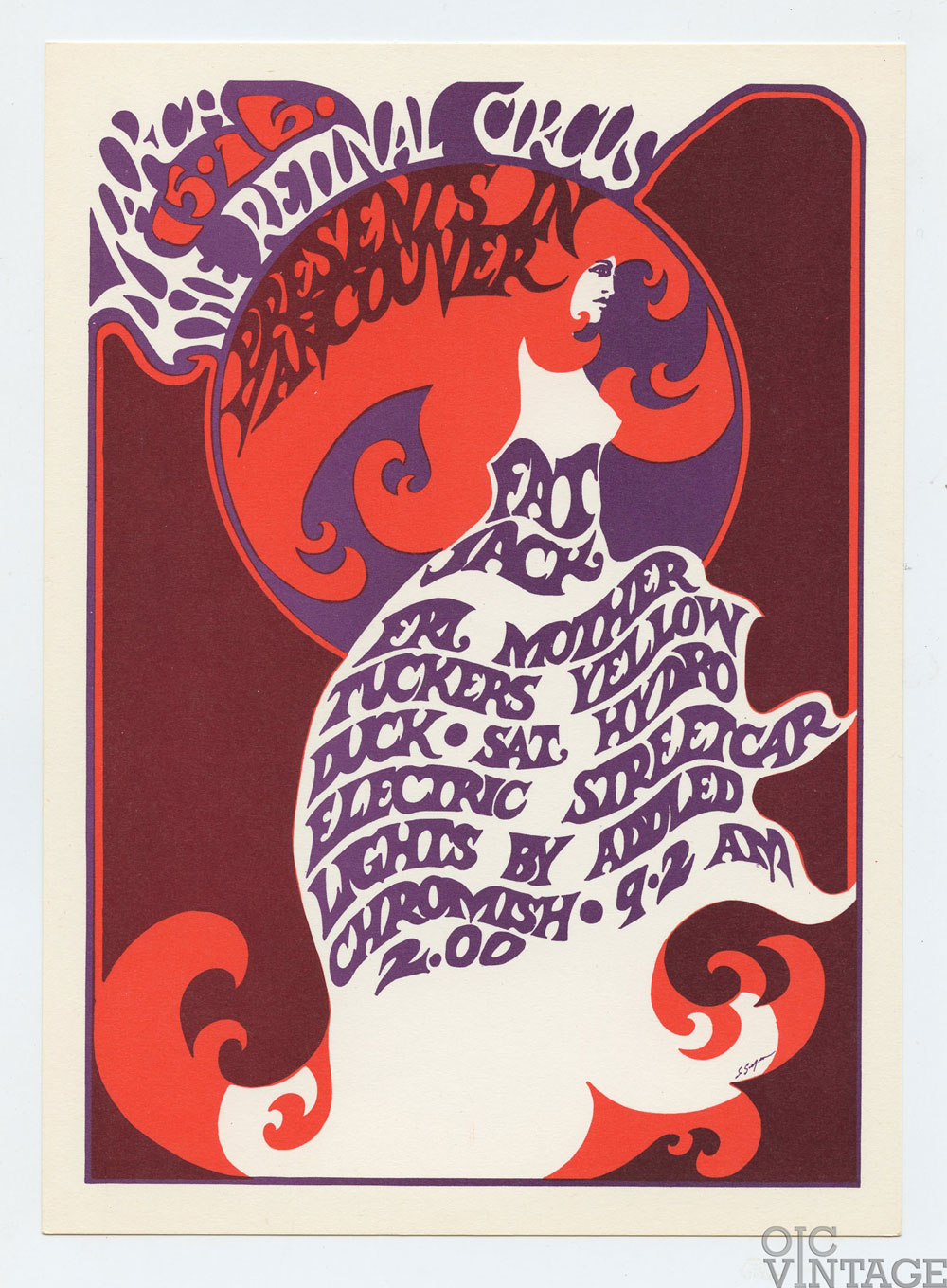 Retinal Circus Postcard 1968 Mar 15 Fat Jack Mother Tuckers Yellow Duck Vancouver Canada