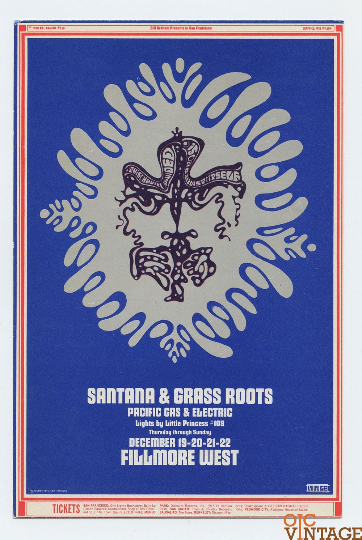Bill Graham 150 Postcard Ad Back Santana Grass Root 1968 Dec 19