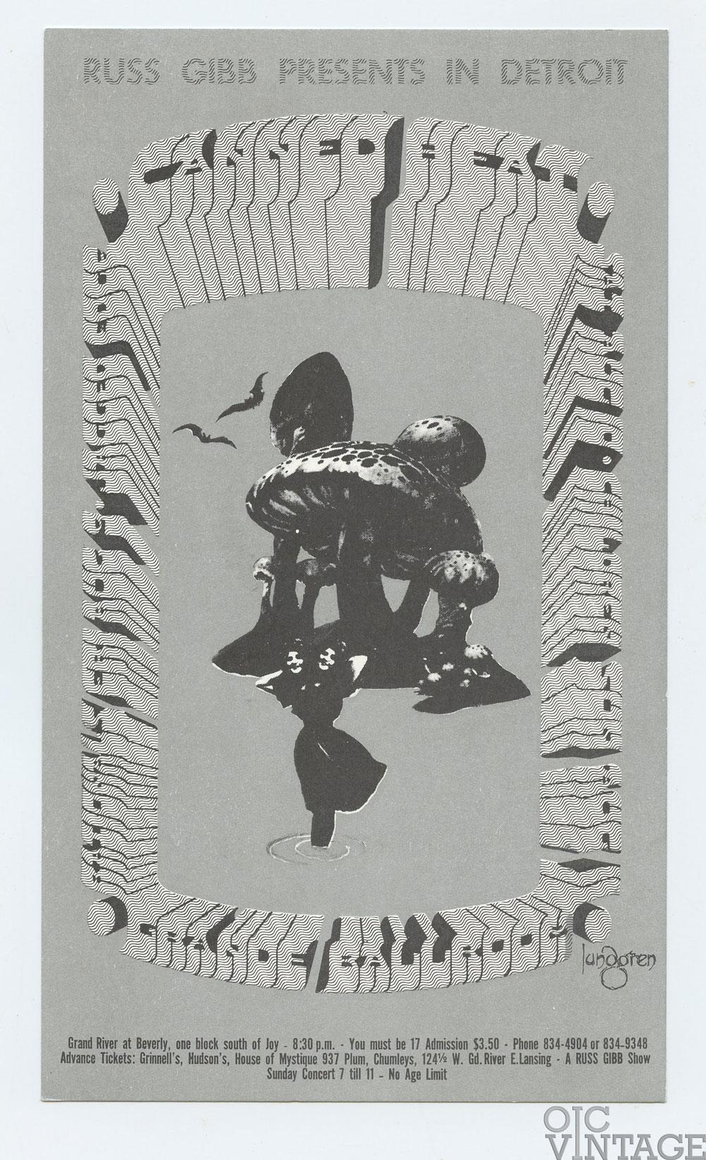 Grande Ballroom Postcard 1968 Aug 9 Canned Heat Rationals Jagged Edge