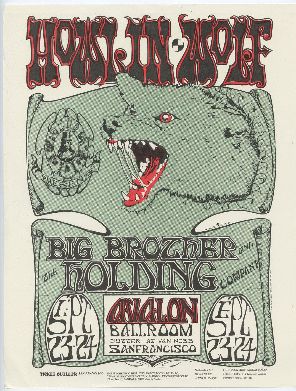 Family Dog  27 Handbill Howlin' Wolf  Big Brother & the Holding Co 1966 Sep 23
