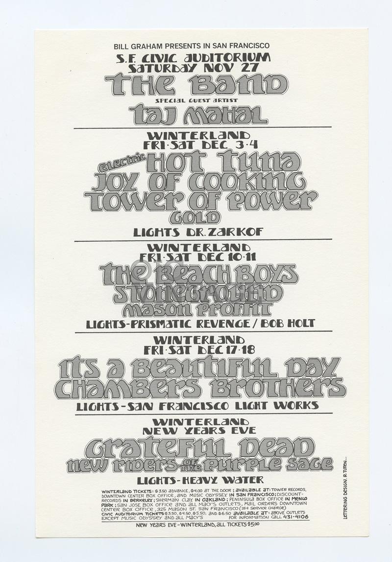 Bill Graham Presents Flyer 1971 Nov Grateful Dead The Band Taj Mahal