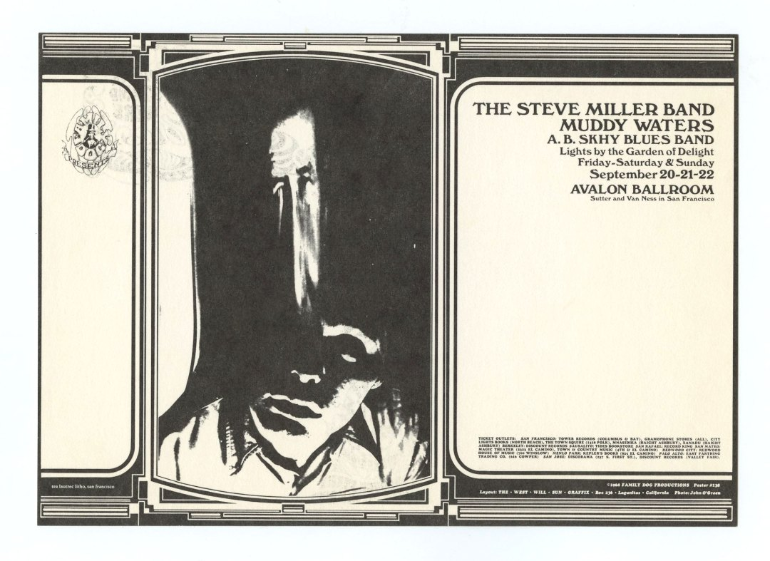 Family Dog 138 Postcard Distortion 1968 Sep 20 Steve Miller Band Muddy Waters