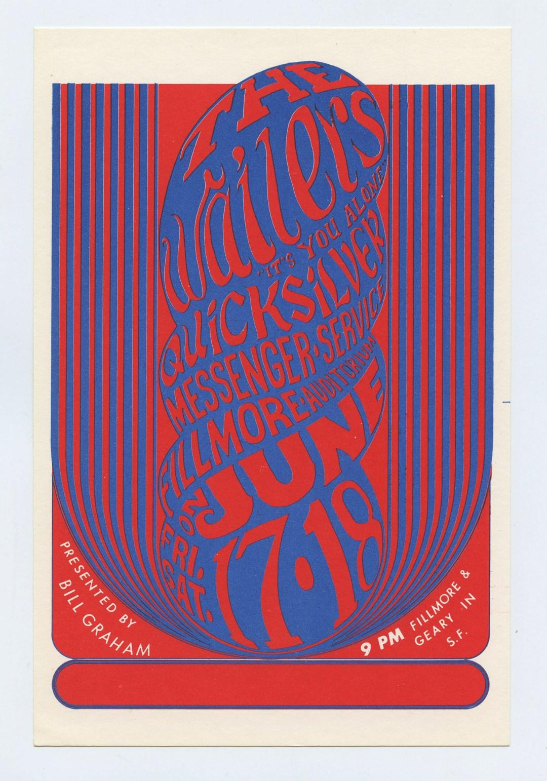 Bill Graham 11 Postcard Waliers Quicksilver Messenger Service 1966 Jun 17