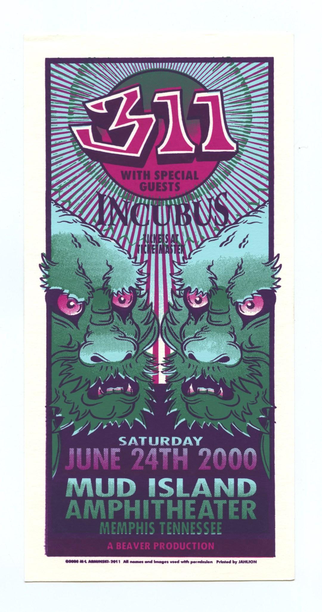 311 Handbill Incubus 2000 Jun 24 Mud Island Amphitheatre Memphis Mark Arminski