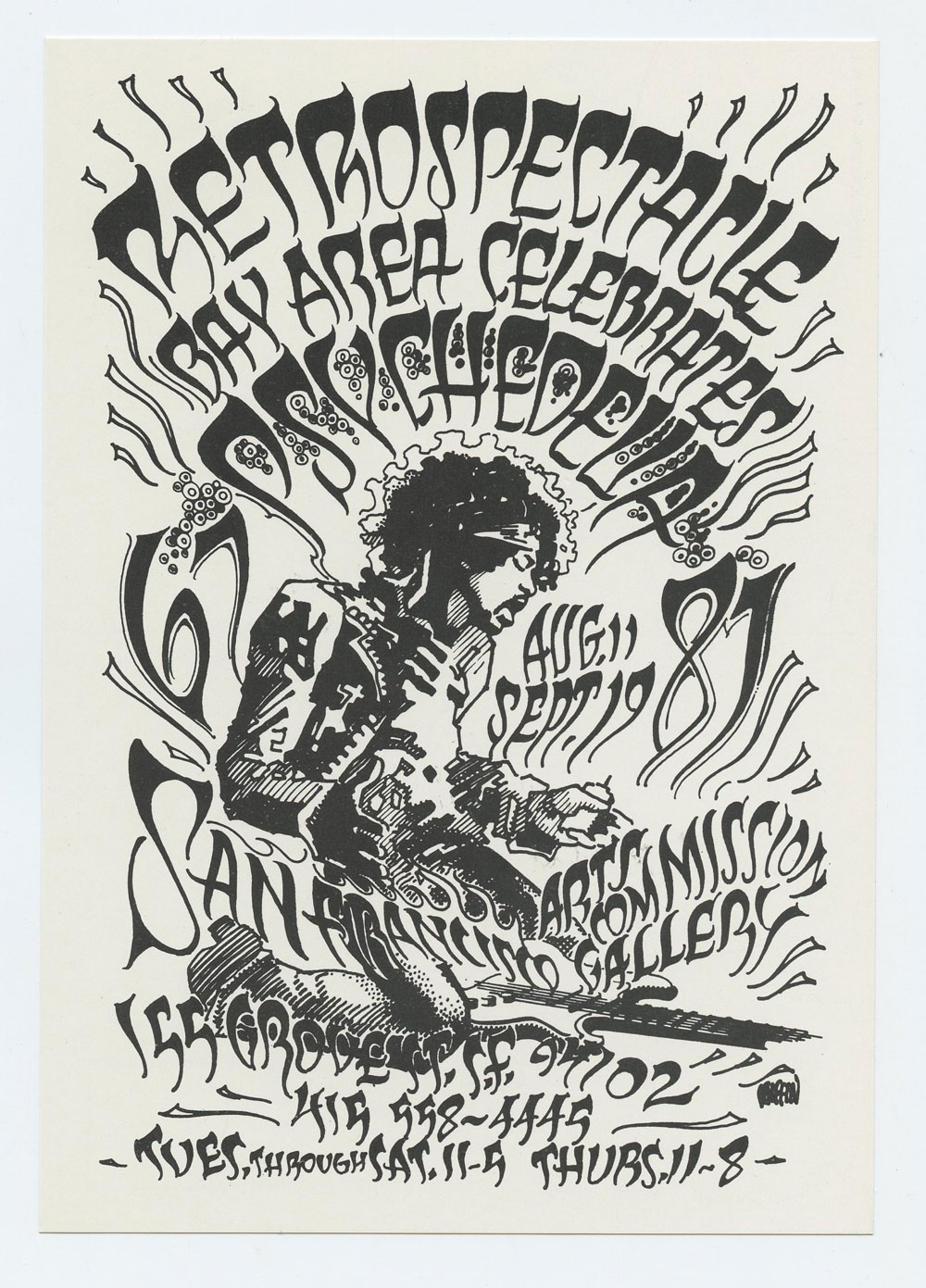 Rick Griffin Postcard RETROSPECTACLE 1987 SF Art Commission Psychedelia