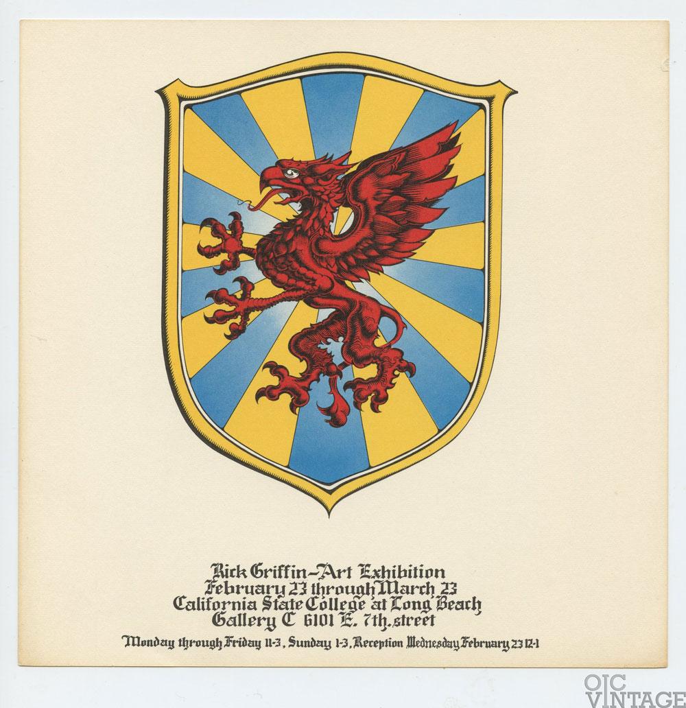 Rick Griffin Handbill 1972 Feb 23 Art Exhibition California State Long Beach