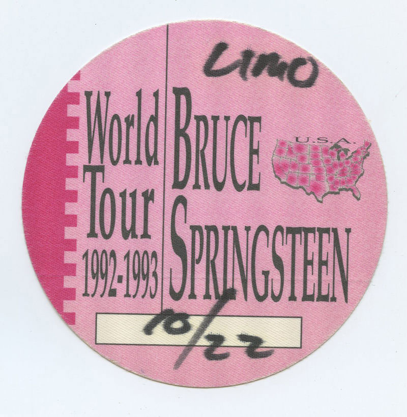 Bruce Springsteen Backstage pass 1992 World Tour