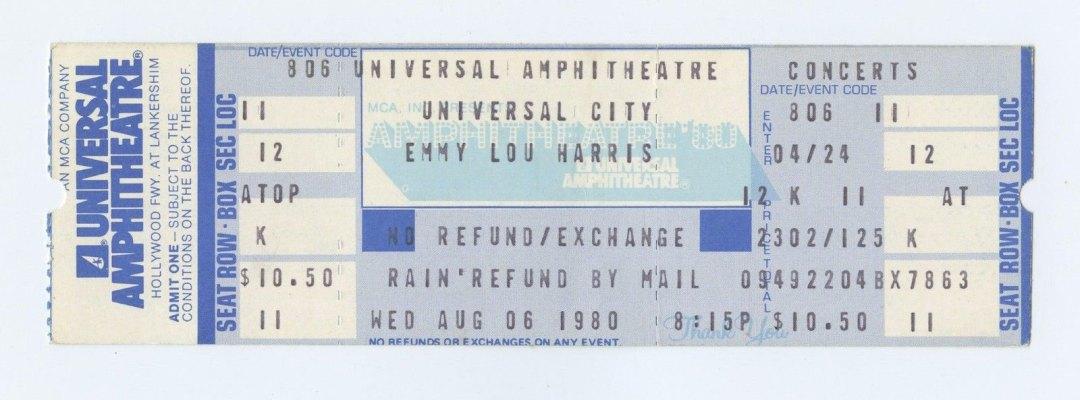 Emmylou Harris Ticket 1980 Aug 6 Universal City Amphitheatre LA Unused